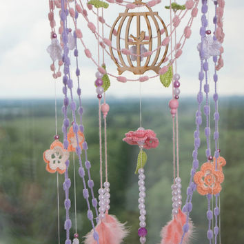 Flower Bаbу Mobile Dream Catcher Knitted Nursery Decor Mobile Dreamcatcher Crochet Nursery Boho Dream Catcher Dreamcatchers Baby Girl Boy