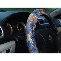 Mandala steering wheel cover Blue car accessory Great idea for gift One size fit to all  car decoration unisex
