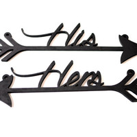Wedding Chair Signs HIS and HERS arrows, Rustic wood sign, wedding decor, black arrows, wooden decor, wall hanging, black wedding decor