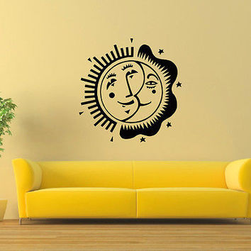 WALL DECAL VINYL STICKER SUN AND MOON DUET SYMBOL ETHNIC DECOR SB802