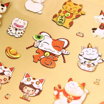 Japanese Lucky Cat Stickers 1 Sheet