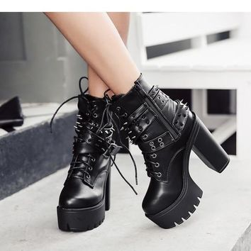 Gothic Ankle Platform Boots with Spikes