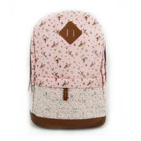 Coofit® Unisex Vintage Cute Floral Pattern Lace Backpack (Pink)