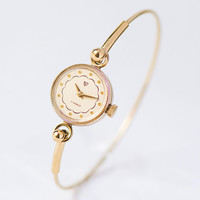 Women's Cocktail Watch Ring Bracelet Gold Plated, Women's Wristwatch Round, Seagull Watch Delicate Jewelry, Mechanical Lady Watch Wife Gift