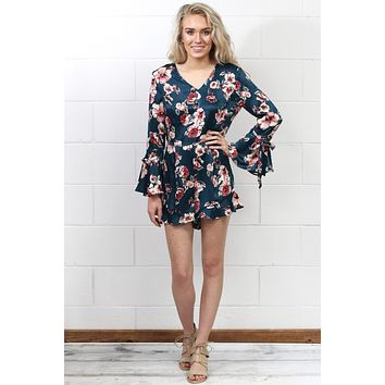 969729e52d7a Ruffled Long Bell Sleeve Satin Floral Romper  Dusty Teal