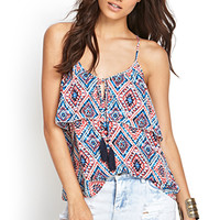 FOREVER 21 Ikat Flounce Cami Cream/Navy
