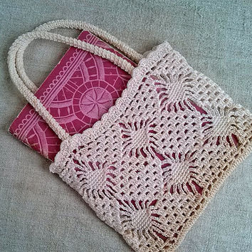 Vintage Crochet bag ivory, 1970s, Crochet, Without lining, Vintage Bags and Purses, Vintage crochet,  Womens bag, Handmade, MyWealth
