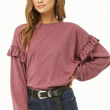 Oversized Ruffle-Trim Top