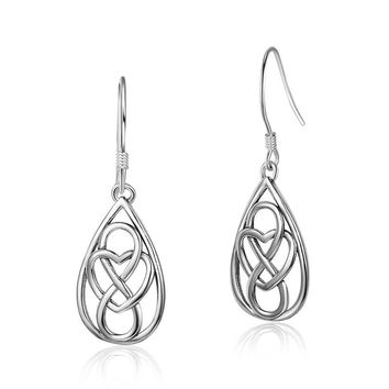 STYLEDOME Trendy Simple 925 Sterling Silver Hollow Out Earrings Water Drop Earrings With Love Heart & Endless Symbols Dangle Earrings