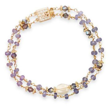 14K Gold Double Strand Tanzanite and Citrine Bracelet