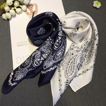 Women Striped Square Scarf Silk Scarves Dots Stewardess Hostess Ladies Office Neckerchief Foulard Bandana Size 70cm