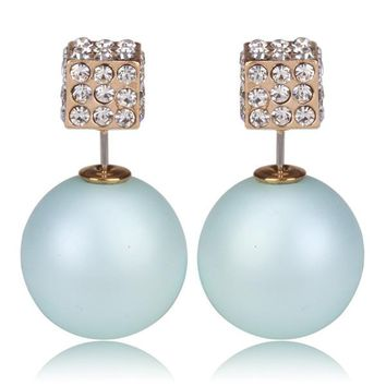 Gum Tee Tribal Earrings - Crystal Dice and Matte Baby Blue