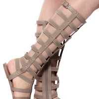 Glaze Taupe Gold Studded Roman Gladiator Sandals