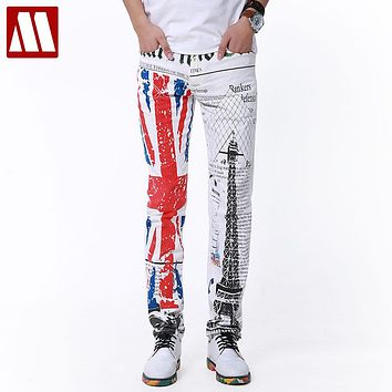 Top Punk Style ! 2016 New Yuppie Jeans for Male leisure men's brand designer retro print jeans Men White Trousers Plus size man
