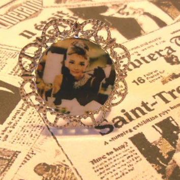 Breakfast at Tiffany's Audrey Hepburn  Illustration Adjustable Laminated Ring Baroque Silver Metal Cameo Photo Handmade Jewelry