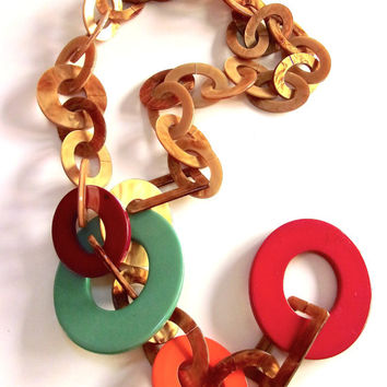 Lucite Chain Link Necklace, Unsigned MONIES GERDA LYNGGAARD, Multi Color, Vintage