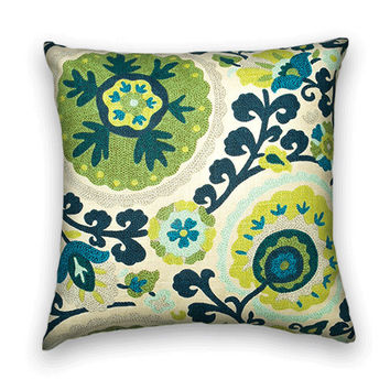 Suzani Decorative Pillow Cover--Richloom --20x20 or 18x18 Throw Pillow Cover--Lime Green and Navy.