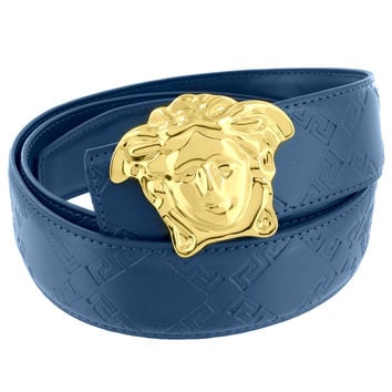 Medusa Face Buckle Blue Leather Belt Gold Tone 46 Inch Mens