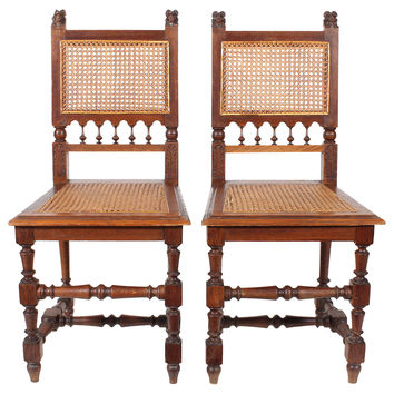 French Hand-Carved Oak Chairs, Pair
