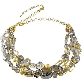 """Necklace Handcrafted Glass and Crystal Beads 23"""" Adjustable (Gray)"""