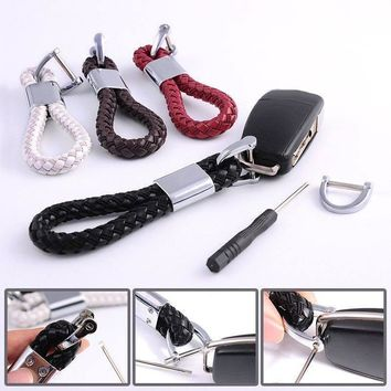 Braided Leather Strap Key Chain