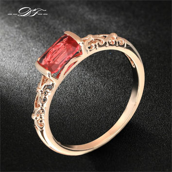 DFR368 Vintage Ruby Rings 18K Rose Gold Plated/Silver Tone Fashion Brand Retro Crystal Ring Imitation Gemstone Jewelry For Women
