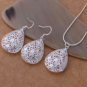 ON SALE - Floral Puff Drops Matching Necklace and Earrings Set