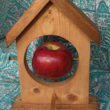 Bird Feeder with Hole for Apple or Suet ---- wooden bird feeder, apple or suet, hanging bird feeder, bird feeder with wire and hook