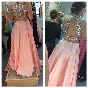 Sparkly Two Pieces Gown 2017 Prom Dresses with Beading Crystals Keyhole Satin Formal Party Gown Homecoming Prom Dress