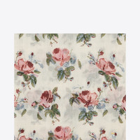 SAINT LAURENT LARGE SQUARE SCARF IN OFF WHITE AND PINK GRUNGE ROSE PRINTED WOOL ÉTAMINE | YSL.COM