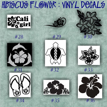 HIBISCUS FLOWER vinyl decal | water bottle decal | car decals | car stickers | laptop sticker - 28-36