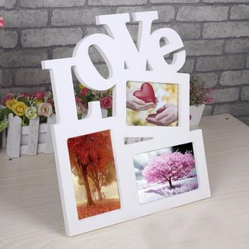 Hollow Love Design Wooden Photo Frame DIY Picture Frames 1pcs Art Home Desk Decor Three Windows fast shipping DIY Picture