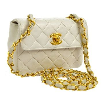 Auth CHANEL Quilted CC Single Chain Shoulder Bag White Leather Vintage V22005