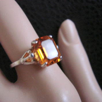 Sarah Coventry Sterling Topaz Ring / November Birthstone  / Designer Signed / Retro / Jewelry / Jewellery