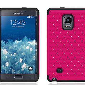 Galaxy Note Edge Case, Crystal Rhinestone Studded Hybrid Dual Layer Shock Absorbent Case for Samsung Galaxy Note Edge - Hot Pink/Black