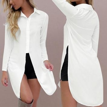 Fashion Sexy Women Chiffon Shirts  Style Long Sleeve Lapel Side Split Solid  Loose Long Tops