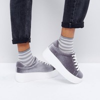 New Look Chunky Velvet Flatform Trainers at asos.com