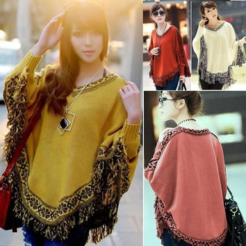 Women Retro Boho Batwing Sleeve Tassels Cloak Poncho Tops Knitted Sweater Coat 7_S