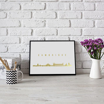 Cambridge Skyline, Cambridge Print, Real Gold Foil Print, Office Decor, Illustration Art Print, Office Art, Cambridge Art, Great Britain.