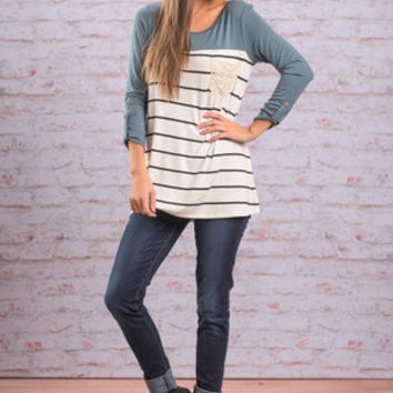 Side To Side Top, Teal-Ivory