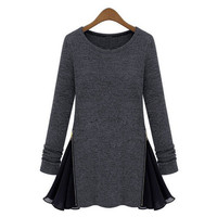Hot Sale 2016 Autumn Winter Women Long Sleeve Tops Pleated Chiffon Tunic Baggy Tee Shirt Casual O Neck Blouses Plus Size Blusas