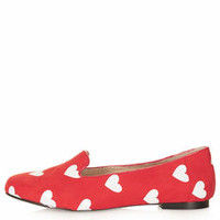 SWOON Heart Print Slippers - Red