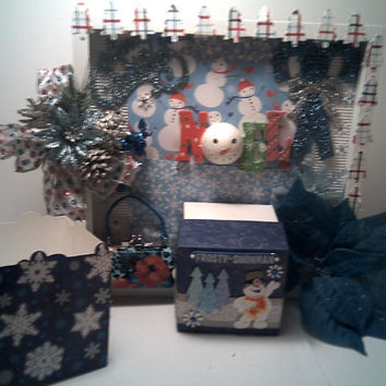 HOLIDAY And Frosty Snowman Wall Decoration Seasons greetings Shadow Box Frosty Gift Box Attached with Snowflake gift card holder and Angel