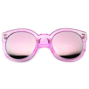 Women's Round Transparent Color Lens Sunglasses A030