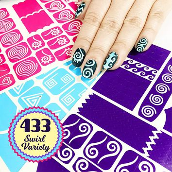 Nail Art Stencils Stickers Vinyl Swirl Collection 433 Guides Kit 23