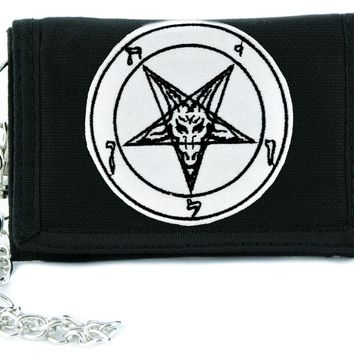 Classic Sigil of Baphomet Tri-fold Wallet w/ Chain Occult Clothing