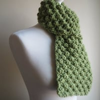 Hand-knit, Chunky and Textured, Merino Wool Scarf in Pea Green