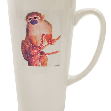 Monkey in Tree Watercolor 16 Ounce Conical Latte Coffee Mug