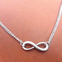 Jewelry silver vintage infinity necklace chain necklace women necklace girls necklace made of silver chain and vintage infinity  XL-2662