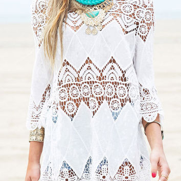 White Boho Cut-Out Lace Mini Dress